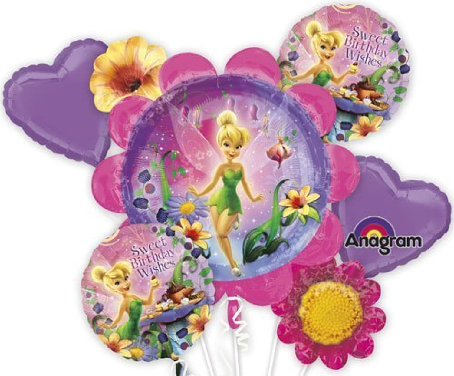 Single Source Party Supplies - Tinkerbell Birthday Wishes Bouquet Mylar Foil Balloons by Single Source Party Supplies