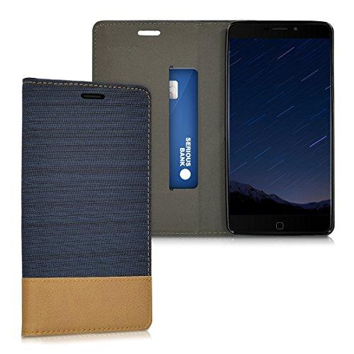 kwmobile Funda Compatible con Elephone P9000-Carcasa de Tela y Cuero sintético con Soporte en Azul Oscuro/marrón