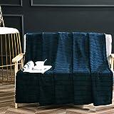 "Bertte Soft Plush Throw Blanket 330 GSM Fuzzy Warm Fluffy Blanket – Decorative Stripe Lightweight Fleece Cozy Sofa Bed Blanket for All Seasons - 60""x80"", Navy"