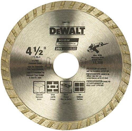 DEWALT Diamond Blade for Masonry, Dry Cutting, Continuous Rim, 7/8-Inch Arbor, 4-1/2-Inch (DW4725) - - Amazon.com $5.30