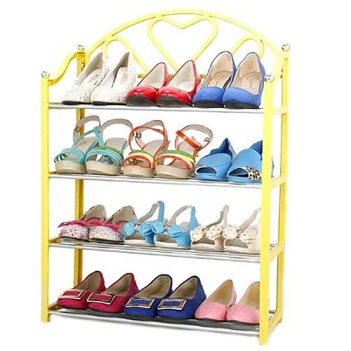 Zapatero de 4 niveles de apilamiento de zapatos organizador de almacenamiento de estante estante estante estante estante estantes organizador de almacenamiento de zapatos