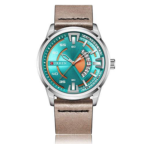 Curren 8298 - Reloj de Pulsera Deportivo para Hombre (Correa de Piel, Resistente al Agua)