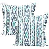 TRESMESTRES Fundas de Cojines 60x60 - Decoración Mediterránea - Decorativos para Sofá o Almohadas/Almohadones para Cama - Grandes - Estilo Costero - Funda Cojín 60 x 60 cm, 2 Pack, Azul Turquesa