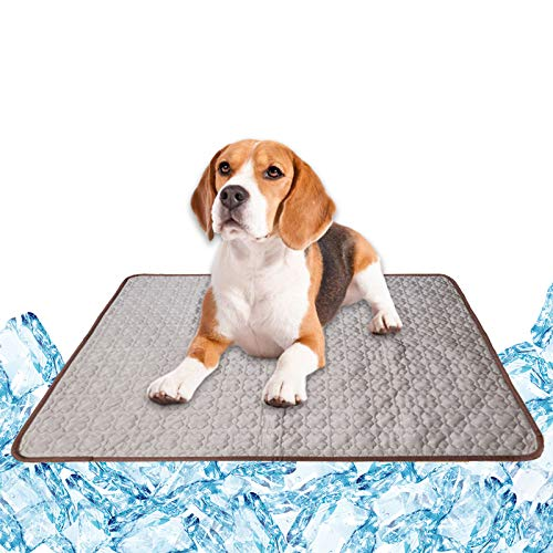 KALINCO Cooling Mat Pet for Dogs Cats, Self Cool Pads, Portable and Washable Pet Cooling Blanket (2822in, Coffee)
