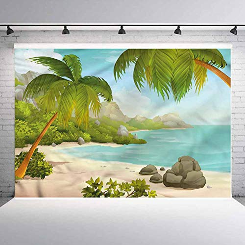 5x5FT Vinyl Backdrop Photographer,Tropical,Exotic Beach Palms Background for Baby Shower Bridal Wedding Studio Photography Pictures
