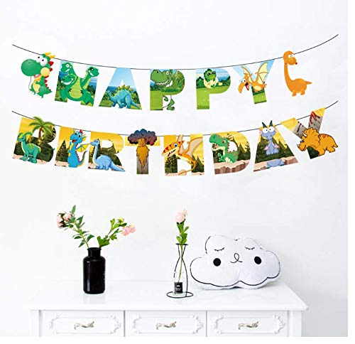 PARTYKA Happy Birthday Banner Happy Birthday Bunting Banners Paper Banner Dinosaur Theme Flags Hanging Bunting Garlands for Boys Kids Birthday Party Decorations Supplies with a Ribbon