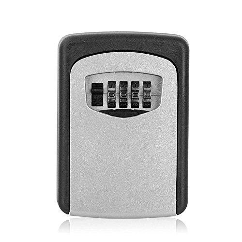 Schlüsselschloss,Schlüsseltresor Outdoor Safe Key Box Schlüsselspeicher Organizer mit 4 Digit Wall Mounted Kombination Passwortschlüssel,Starker Zinklegierungskörper,Rostfrei,mit Befestigungsschrauben