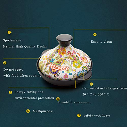 XCXDX Keramik Tajine, Multifunktions-Auflauf, Handbemalter Lehm-Schnellkochtopf, 2L