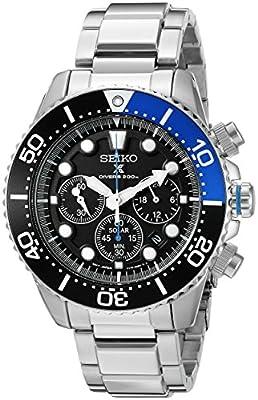 Seiko Men's SSC017 Prospex Analog Japanese Quartz Solar Stainless Steel Dive Watch