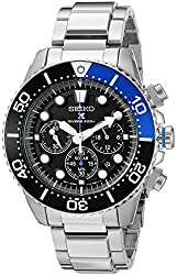 Seiko Men's SSC017 Prospex Analog Japanese Quartz Solar Stainless Steel Dive Watch