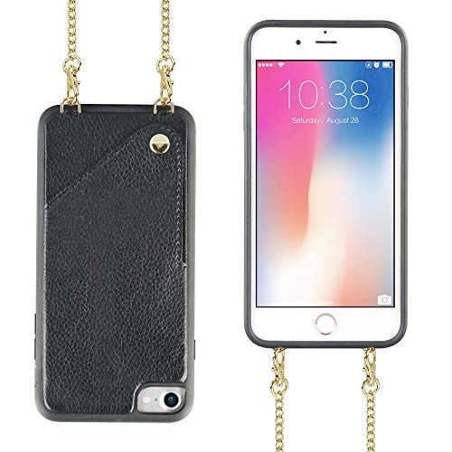 JLFCH iPhone 7 Wallet Case, iPhone 8 Wallet Case, iPhone 7 Crossbody Chain Purse with Card Slot Holder iPhone SE Protection for Apple iPhone 7/8/SE 4.7 inch - Black