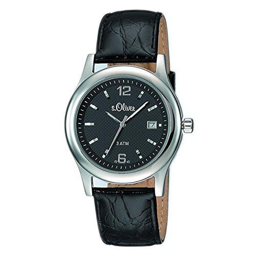 s.Oliver Herren-Armbanduhr Analog Quarz Leder SO-15075-LQR