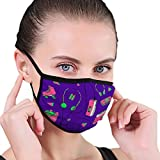 NoneBrand Mouth Cover with Adjustable Straps doodle set teen isolated elements 90s audio player