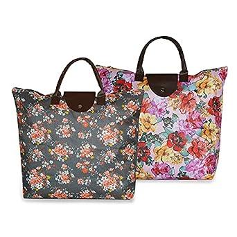 NFI essentials Handy Fold Up Shopping Bag Foldable Shopping Handbag Travel Bag Women Shoulder Waterproof Carry Bag, Zip Top Folding Tote