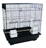 YML 3/8-Inch Bar Spacing SquareTop Small Bird Cage, 18-Inch by 14-Inch, Black