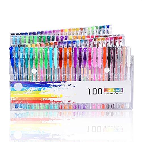 100 Stück Glitzer Gelschreiber Gelstifte Set Multicolor Gel Stift Set (keine Duplikate) toll für Erwachsene Färbungsbücher Zeichnung Malbücher