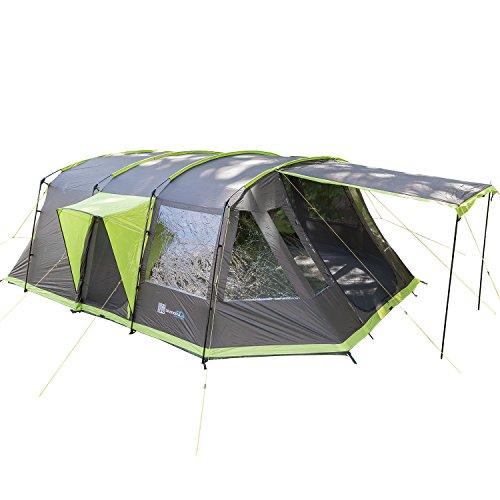 skandika Nordland 6 Personen Familien/Tunnel Campingzelt, mit fest eingenähtem Zeltboden, 200 cm Stehhöhe, 5000 mm Wassersäule, Steilwänden (anthrazit/grün)