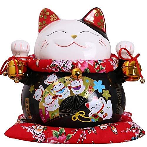 King Boutiques Maneki Neko 10 Pulgadas Negro de cermica de Maneki Neko Lucky Box Ornamento del Gato del Dinero del Gato de la Fortuna estatuilla China Estatua Hucha con Campanas