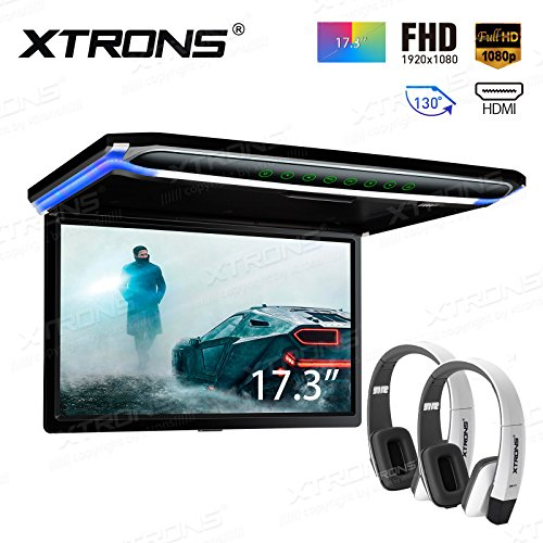 """XTRONS 17,3"""" Digital TFT FHD 16:9 Bildschirm für Auto Bus unterstützt 1080P Video Auto Overhead Player Auto Monitor mit HDMI Port Automosphäre LED Licht Windows CE für Urlaub (CM173HD+DWH006x2)"""