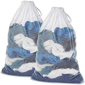 DoGeek Bolsas de Malla de Lavandería Bolsas de Lavado para Ropa Interior, Calcetines,Sujetadores, Camiseta,Ropa de Bebé (Blanco, 2 pcs)