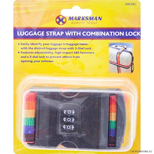 Marksmann Luggage Strap With 3 Digit Combination Lock Suitcase Tie Down