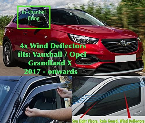 Juego de 4 deflectores de viento compatibles con Vauxhall Grandland X 2017 2018 2019 2020 2021 2022 ventana lateral protector de lluvia visera de cristal acrílico PMMA