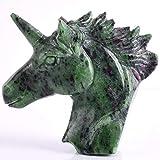 ZEYAUP Statua 4 Pollici Naturale Rubino Unicorno epidoto Cranio figurina energia curativa Mini Animale scolpito Statua di Cristallo Pietra preziosa, Verde