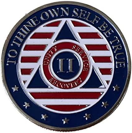 2 Year Alcoholics Anonymous Industry No. 1 Arlington Mall Chip 7th Step on Back w Coin Prayer