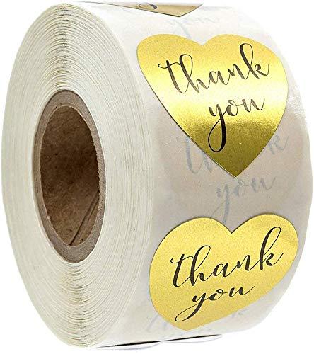 500 Stück Danke Aufkleber Herz Aufkleber Label Papier Abdichtung Aufkleber Etiketten Selbstklebend Geschenksticker Oro Selbstgemacht Aufkleber (Gold Thank You)