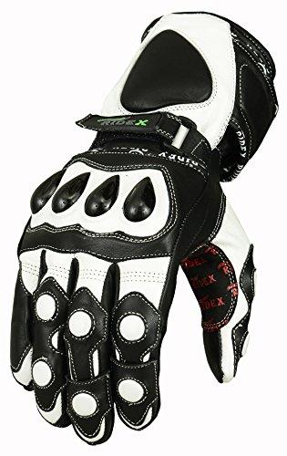 RIDEX G7W Knöchelschutz Wasserdichte Motorrad Leder Handschuhe weiß & schwarz
