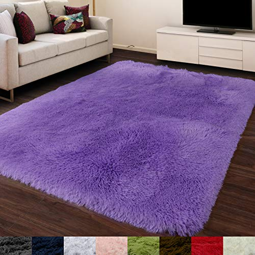 Purple Area Rug for Bedroom,5'X7',Fluffy Shag Rug for Living Room,Furry Carpet for Kids Room,Shaggy Throw Rug for Nursery Room,Fuzzy Plush Rug,Purple Carpet,Rectangle,Cute Room Decor for Baby