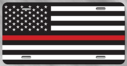 JMM Industries Thin Red Line Flag Vanity Novelty License Plate Tag Metal Car Truck 12-Inches by 6-Inches UV Resistant Print UVP086