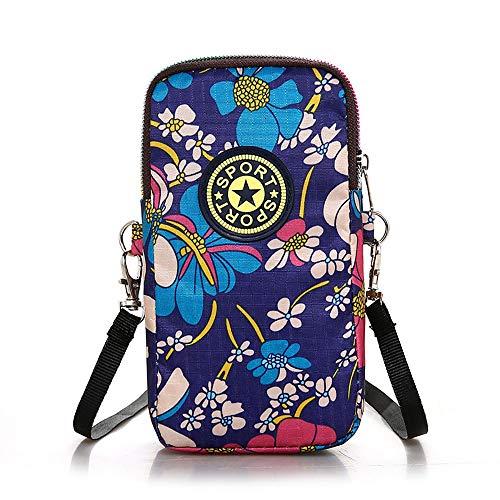 Damen Umhängetasche Handy Umhängetasche Brieftasche Tasche, Handtasche Wristlet Geldbörse zum Tragen Karte Handy für Frauen (Blaue Blume)