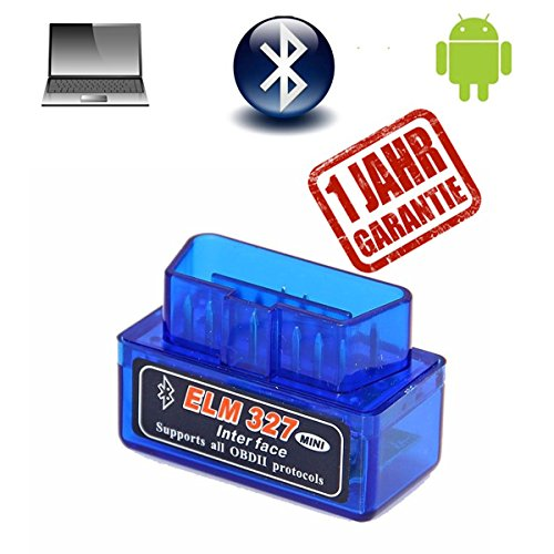 OBD2 OBD II Bluetooth Diagnosegerät Adapter Scanner ELM327 Stecker Interface Auto Car Testgerät Auslesegerät für Android Windows