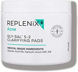 Replenix Acne Solutions Gly-Sal 5-2 Exfoliating Acne Pads With Glycolic Acid And Salicylic Acid, 60 Count