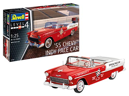 Revell-1955 Chevy Indy Pace Car, Escala 1:25 Kit de Modelos de plástico, Multicolor, 1/25 (Revell 07686 7686)
