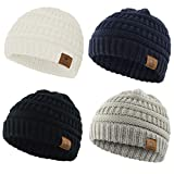 Durio Baby Boy Gifts Baby Gifts for Baby Infant Toddler Winter Hat Pack Black & Light Grey & Navy & White One Size