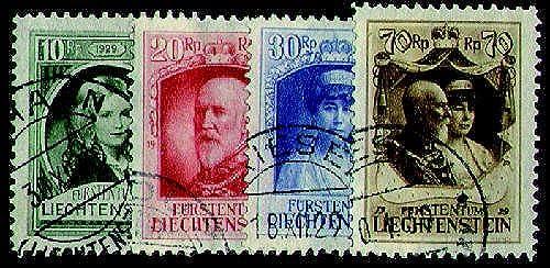 Goldhahn Liechtenstein Nr. 90-93 gestempelt Fürst Franz I. 1929 Briefmarken für Sammler