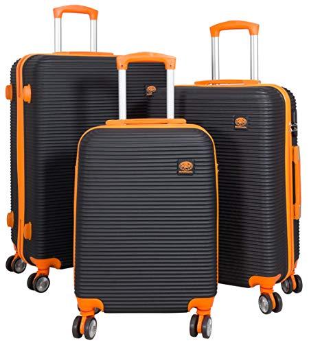 3tlg. Hartschalen ABS Kofferset Trolley Reisekoffer Set Reisetrolley Handgepäck Boardcase Santorin (Farbe Schwarz-Orange)