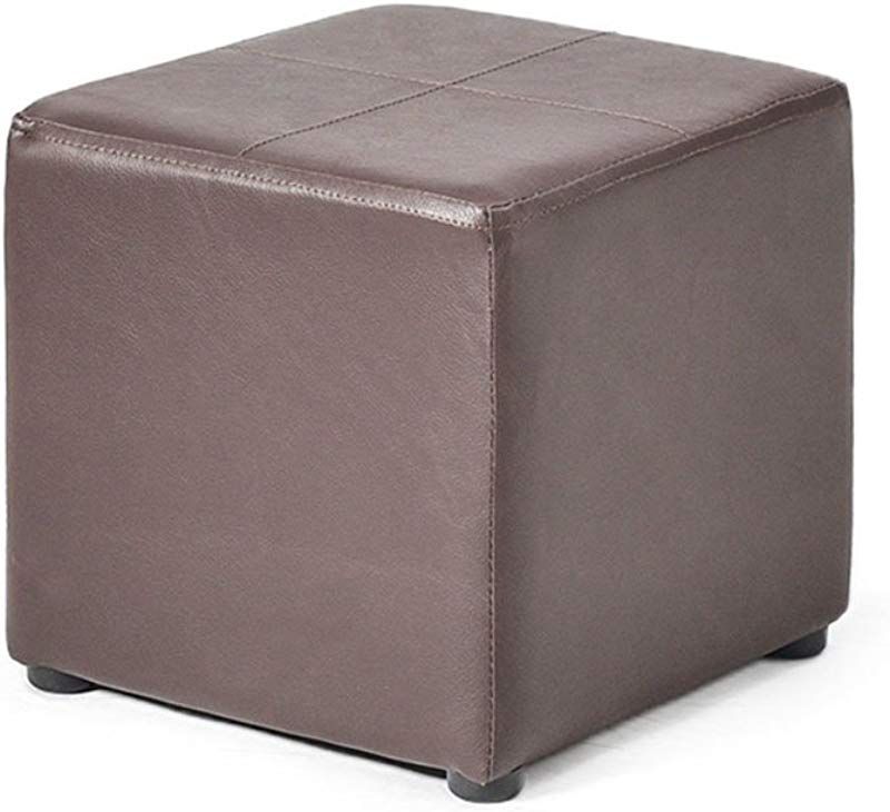 WZ Ottomans Footstool Pouffe Ottoman PU Multifunctional Change Shoe Makeup Stool Living Room Three Colour 28cmx28cmx28cm Color Brown