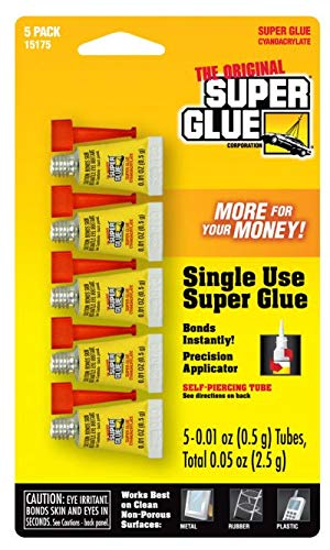 Super Glue 15175 Mini Single Use Tubes 5-Pack