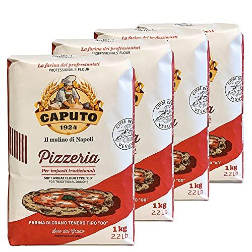 Mulino Caputo 00 Pizzeria Flour 1Kilo Bag, 140.8 Ounce, (Pack of 4), 2.2 pound (pack of 4)