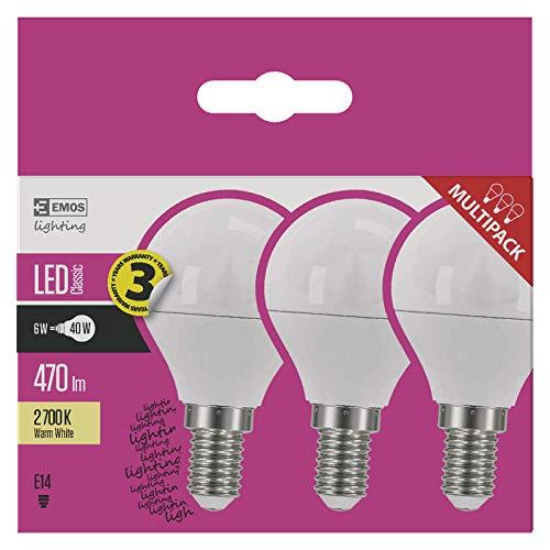 EMOS Pack de 3 bombillas LED de 6 W / reemplaza una bombilla incandescente de 40 W / Casquillo E14 / 470 lm / Blanco cálido - 2700 K / Mini Globe G45 / 30000 horas de vida útil /