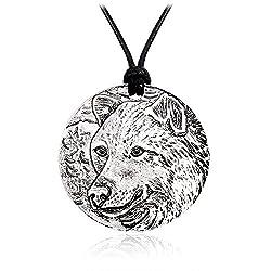 Meiligo Retro Norse Vikings Wolf Amulet Charm Necklace Valknut Sign Irish Jewelry Necklace Odin's Wolves Norse Rune Pendant
