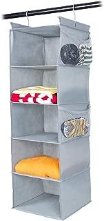 MAX Houser 5 Shelf Hanging Closet Organizer,Space Saver, Cloth Hanging Shelves with (4) Side Pockets,Foldable, (Light Grey)