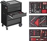 """Vigor V2379 VIGOR Werkstattwagen 500 """"Black Edition"""" mit 5 Schubladen und mit 160 Werkzeugen in 2K-Weichschaum-Einlagen V2375, V2376, V2378"""