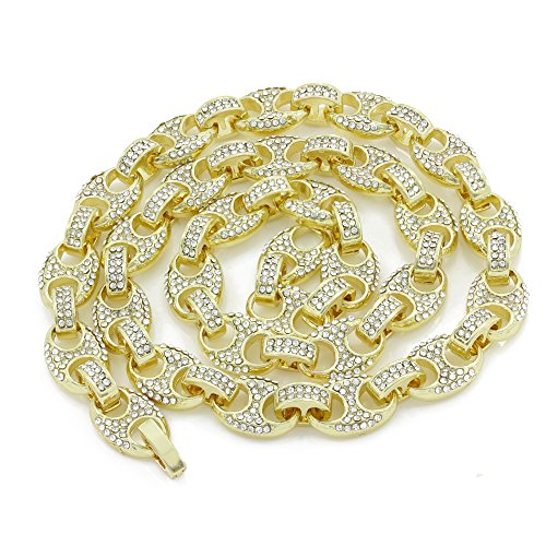 Men's Bling Icy Mariner Link Choker Necklace/Bracelet Gold Finish Lab Created Diamonds 8MM (8.5-30 inches) (Chain 18'')