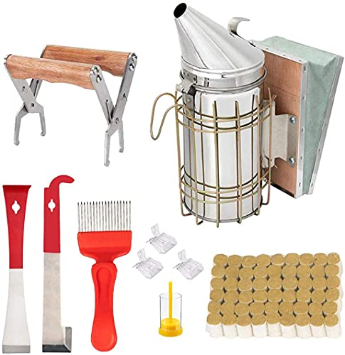 Imkerei-Werkzeug-Set mit 10 Bienenstock-Räuchern, 54 Stück Smoker-Pellets, J-Haken, Rahmengriff, Imkereizubehör für Imkereibedarf, Starter-Set