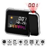 Hangrui Reloj de proyección Digital,LED Alarma, Reloj Modern Reloj Despertador Colourful Pantalla LCD Estación USB Meteorológica Termómetro Higrómetro Funciones de Repetición