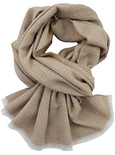 Rotfuchs Echarpe Webschal Uni tendance à chevrons uni 100% laine (Merino)